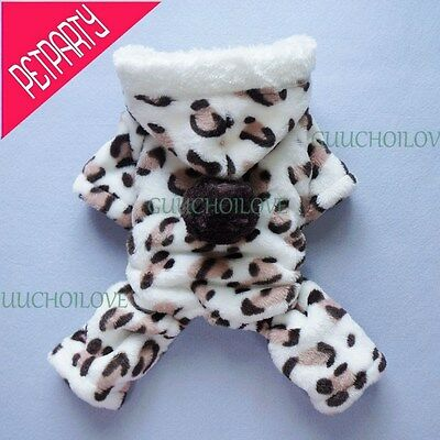 Soft Leopard Dog Jumpsuit for Dog Hoodies Dog Clothes Dog Coat Free Shipping