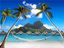 "Hawaii Beach Landscape Paradise Beach Coconut Palm Tree Boat Poster 24/""x13/"" 001"
