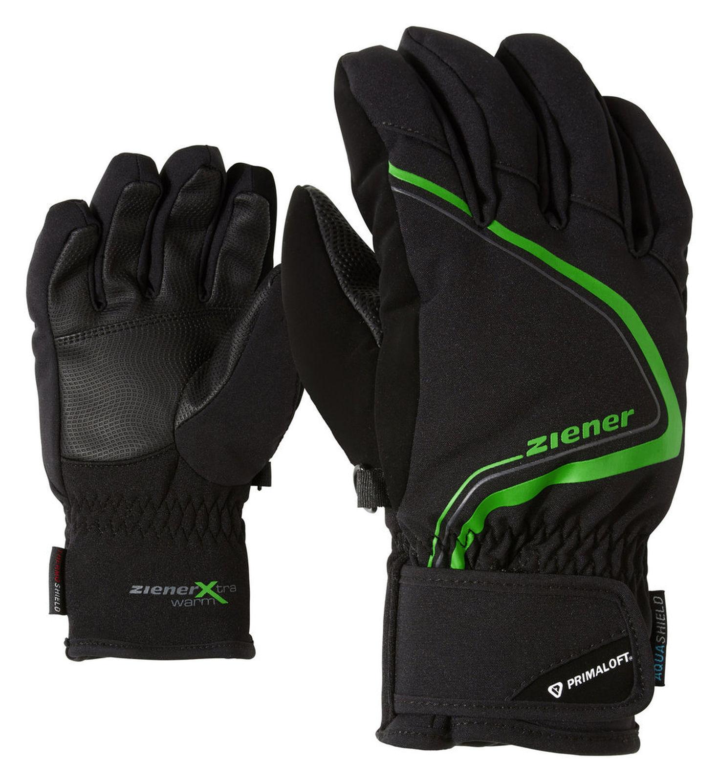 Ziener Kinder Handschuh LANU AS PRIMALOFT JUNIOR black green  181903 12785  lightning delivery
