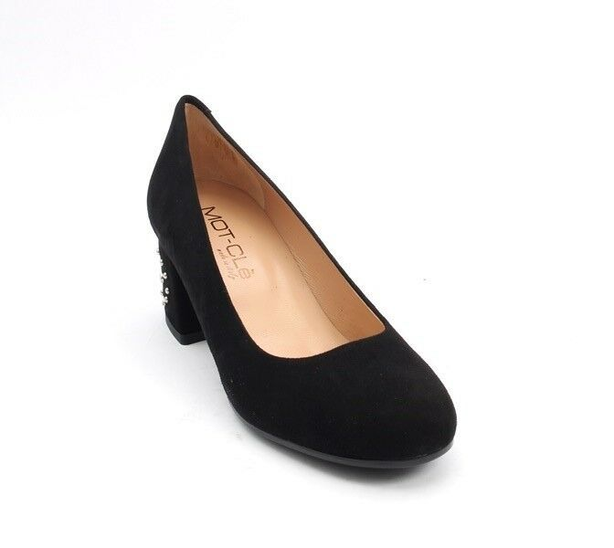 MOT-CLe 696b Black Suede Round Toe Block Studded Pumps Heel Pumps Studded 37 / US 7 33fde9
