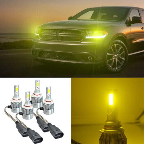 4Pcs Yellow COB LED Headlight Kit Hi//Lo Beam Bulb 3000K For Dodge Journey 10-17