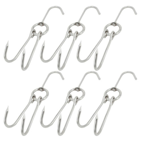6pcs Stainless Steel Chicken Bacon Meat Hooks Butcher Sausage Hanging Storage