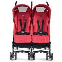 Peg Perego Pliko Mini Twin Mod Red Lightweight, Umbrella Double Seat Stroller Strollers