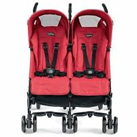 Peg Perego Pliko Mini Twin Mod Red Lightweight, Umbrella Double Seat Stroller Strollers