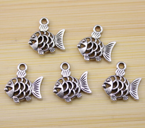 25//50100 pcs lovely  Tibet silver Hollow out fish charm pendant 17x16 mm