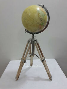 VINTAGE TABLE TOP GLOBE WITH TRIPOD STAND - COLLECTABLE NAUTICAL DECOR