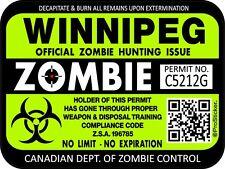 Canada Winnipeg Zombie Hunting License Permit 3x 4 Decal Sticker 1322