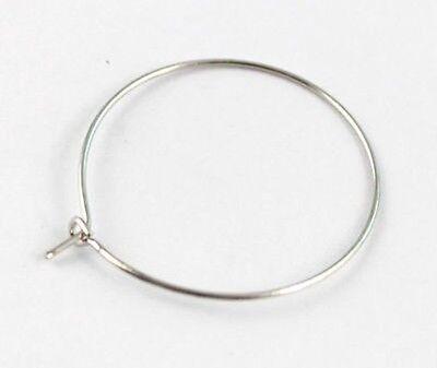 200 PCS Findings wire round hoop earring 29mm #20581