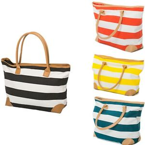 Beach-Bag-Womens-Ladies-Large-Striped-Summer-Shoulder-Shopper-Tote-Canvas-Bags