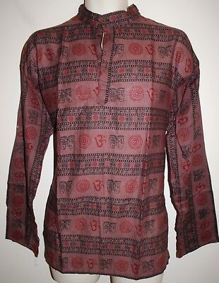 "New Fair Trade Grandad Collarless Shirt L chest up to 42/"" Hippy Ethnic Surf Yoga"