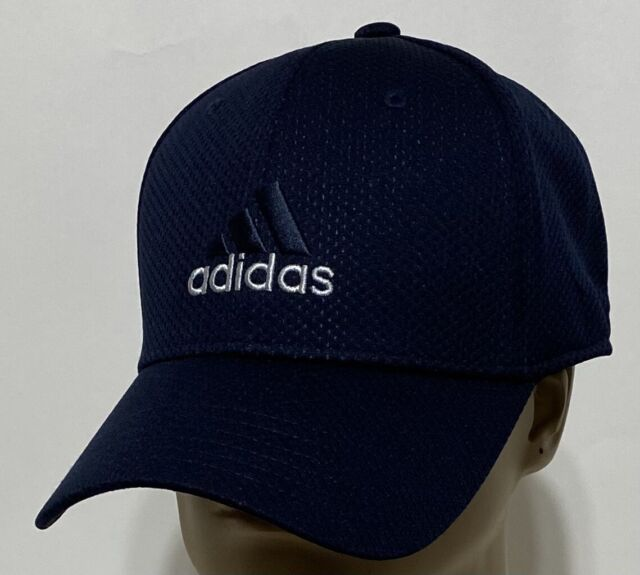 adidas Men's Polyester Baseball Cap Navy Blue with adidas Logo Stretch Fit S/M