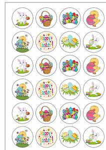 12 Large Pre Cut Retro Cute Easter Bunny Chick Edible  Wafer Cupcake Toppers