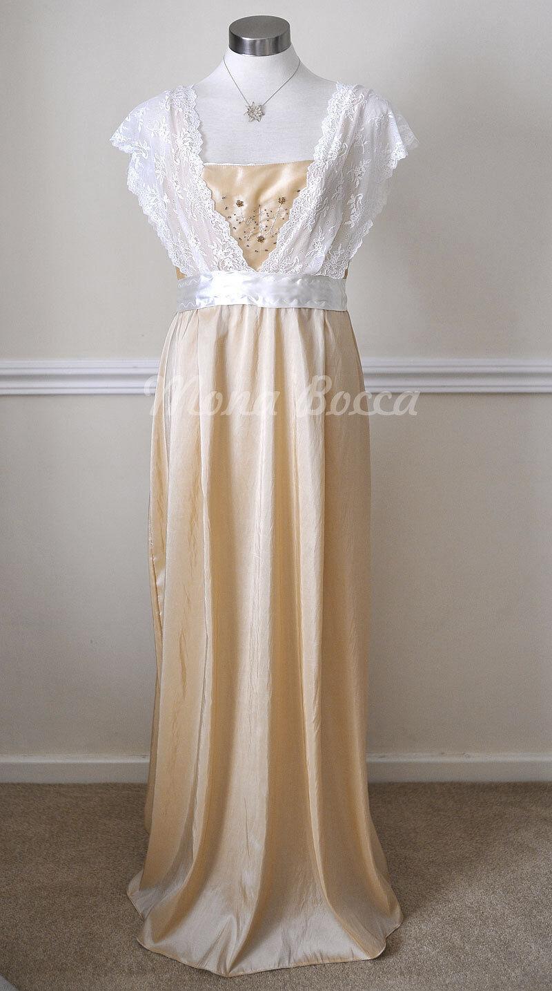 Edwardian dress Titanic 1912 lace cream bridesmaids dress made to order 4-30UK
