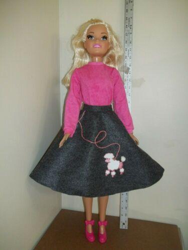 "felt POODLE SKIRT /& pink TOP doll clothes for 28/"" Best Fashion Friend Barbie"