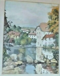 Truda-Panet-Signed-1986-Watercolour-Ink-Painting-France-Pontarlier-river-Doubs