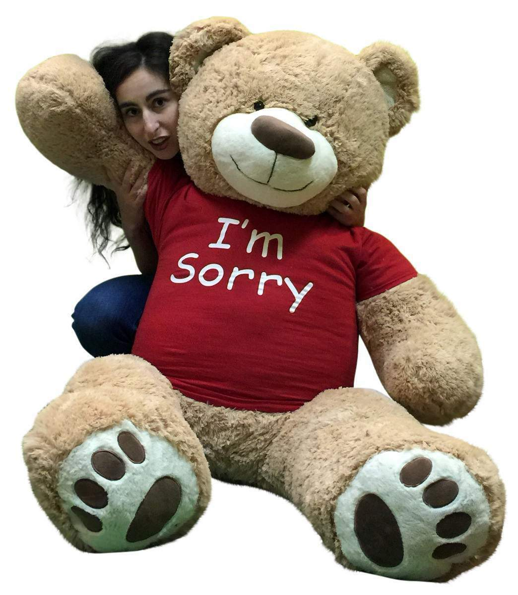 I'm Sorry Giant Teddy Bear 5 Feet Tall Tan Farbe Soft Wears I'M SORRY T shirt