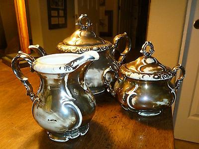 Vintage Tea Set Dekor Rw Bavaria Feinsilber Silver Over White 5 Pieces Ebay