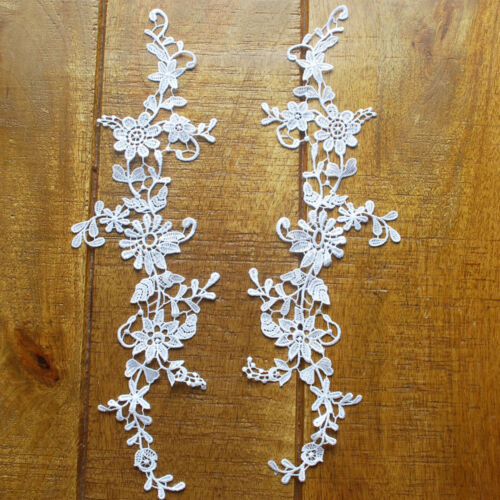 11,5 cm x 35cm-MP02 Guipure motivo decorativo in pizzo-APPLIQUE floreale-UNA COPPIA-Sposa
