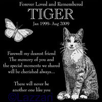 """Personalized Pet Cat w/ Butterfly Memorial 12""""x12"""" Engraved Granite Grave Marker"""