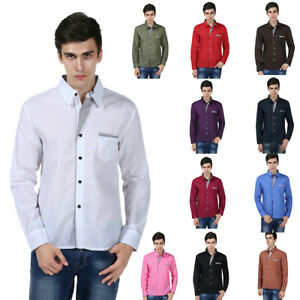 Men-039-s-Casual-Shirts-Business-Dress-T-shirt-Long-Sleeve-Slim-Fit-Tops-Tee-US