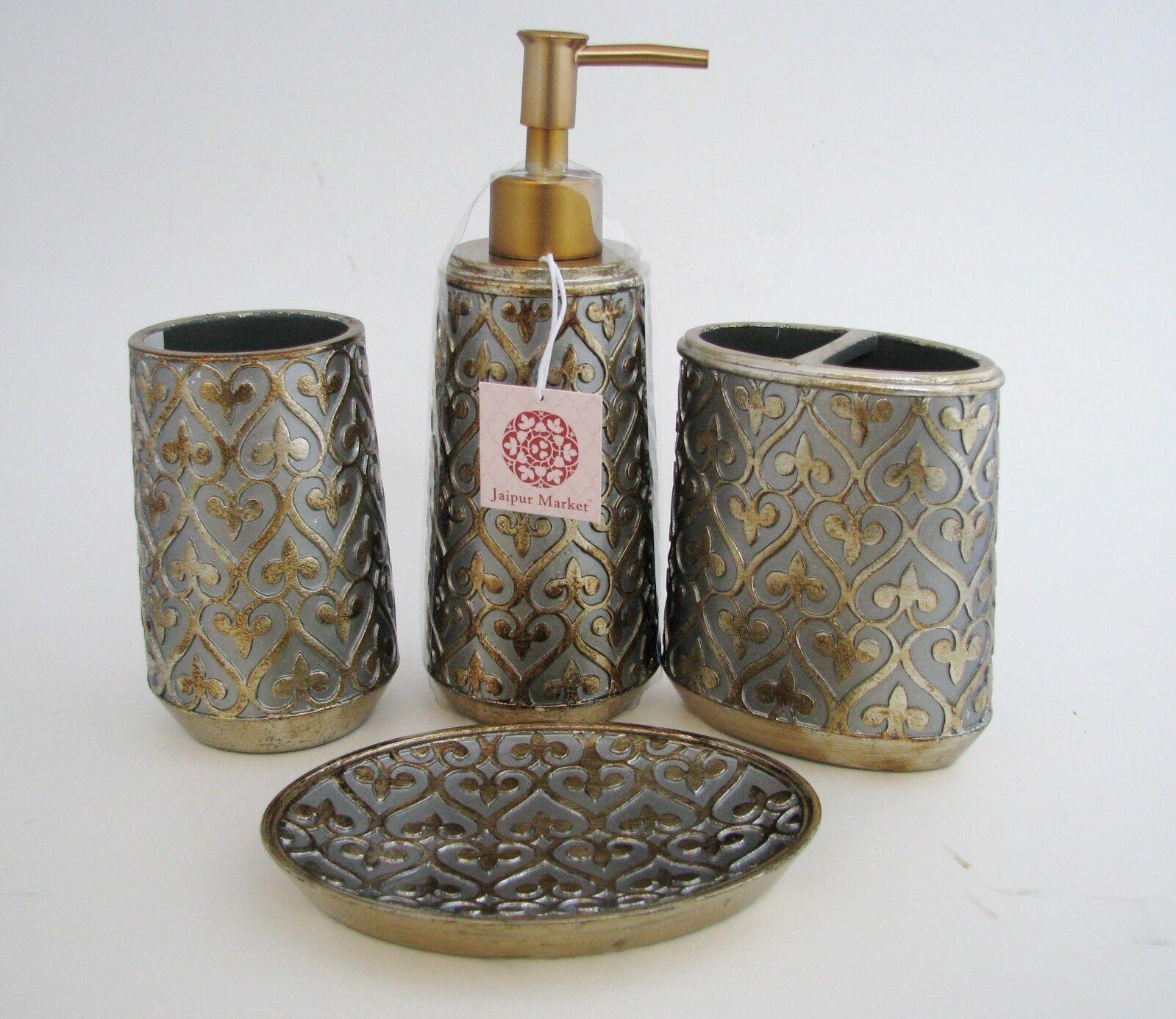 4PC Set Antik Gold + Silber Harz Gelbe-Schwertlilie Seifenspender +Zahnbürste+