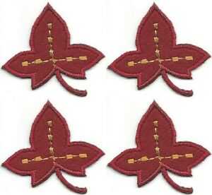 """1.75/"""" Red Leaf embroidery Fall Autumn Leaves Patch"""