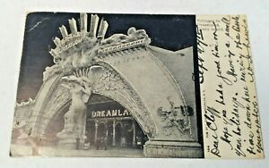 Antique-Postcard-Entrance-to-Dreamland-Coney-Island-NY-Glitter-Posted-1907-PC