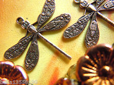 2 Stk.Zierliche Copper Plated Dragonfly-Libellen-Anhänger -21x23mm- Antik Kupfer