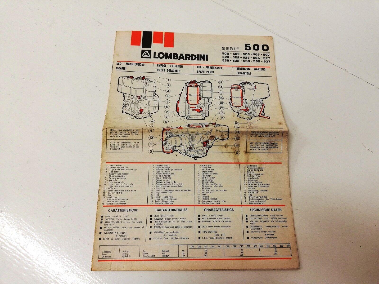 Manual Manual folleto listo para usar mantenimiento MOTORES LOMBARDINI 500 502