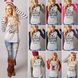 Womens-Xmas-Long-Sleeve-T-shirt-Blouse-Christmas-Reindeer-Casual-Tee-Shirts-Tops