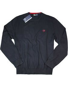 Pull maille Bleu fonc col fine Perry Pull rond Fred en q65Yw