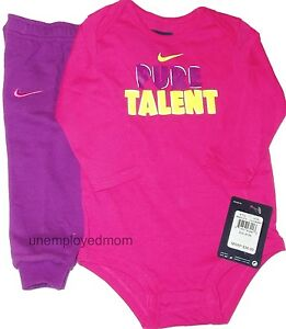 9e4e8aa0a Nike Pants Shirt 2 piece Set Bodysuit Girls Sports Athletic Long ...