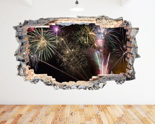 L132 Fireworks Scene Living Room Night Sky Wall Decal Poster 3D Art Stickers Vin
