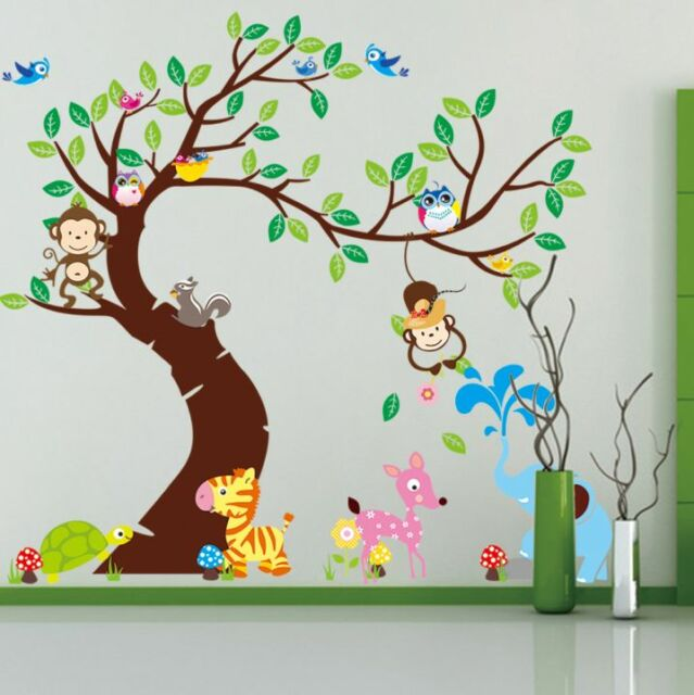 Animal Monkey Giraffe Wall Stickers Art Nursery Children S Bedroom Decor Uk