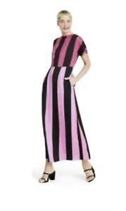 Christopher John Rogers Target Stripe Short Sleeve Dress Pink / Black SIZE 6