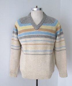 VGC Vtg 70s Gray Blue Yellow Stripe 100% Shetland Wool V-Neck ...