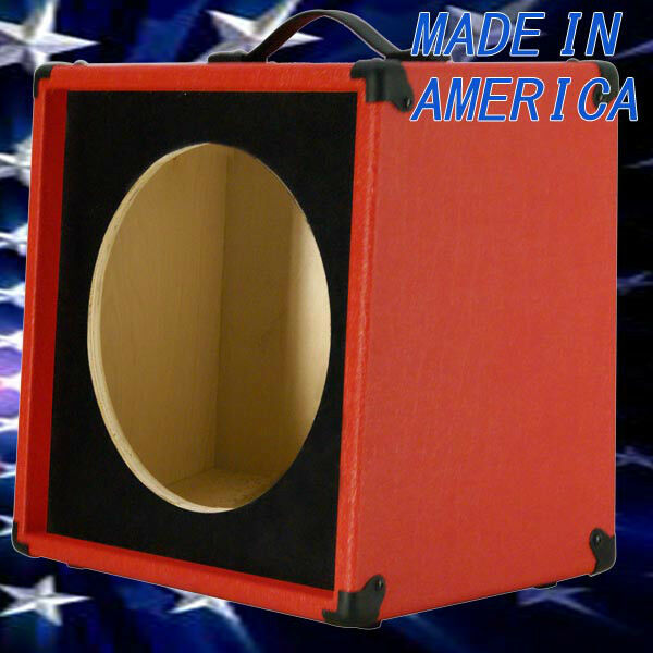 1x12 Guitar Speaker Extension Empty Cabinet  Fire Red Tolex slanted front face