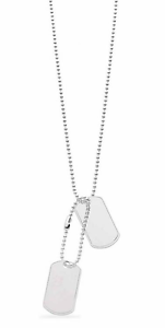 Sterling-Silver-Gents-Military-Style-Dog-Tags-with-20-034-Chain-Free-Engraving