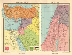 Original 1935 Antique Map - Western Asia Turkey Palestine | eBay