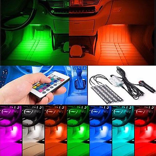 4x 9 LED Remote Control Colorful RGB Car Interior Floor Atmosphere Light Strip