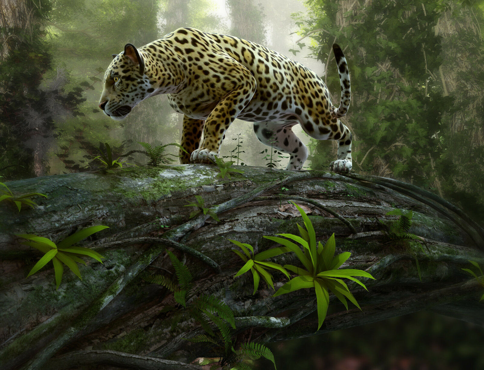 NON-WOVEN Photo Wallpaper (63V) -JAGUAR on the PRAWL-350cmx260cm 7 strips Mural