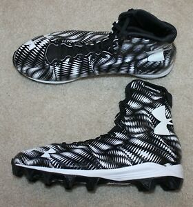New Mens Under Armour Highlight RM Lacrosse//Football Cleats Black//White Sz 7.5 M