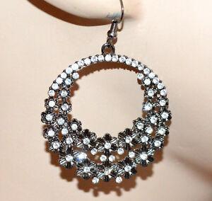 ORECCHINI-donna-grigio-cerchi-pendenti-fiori-strass-brillantini-earrings-CC74