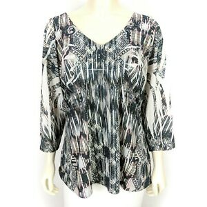 One-World-Women-039-s-White-Black-V-Neck-3-4-Sleeve-Blouse-Shirt-Top-Extra-Large-XL
