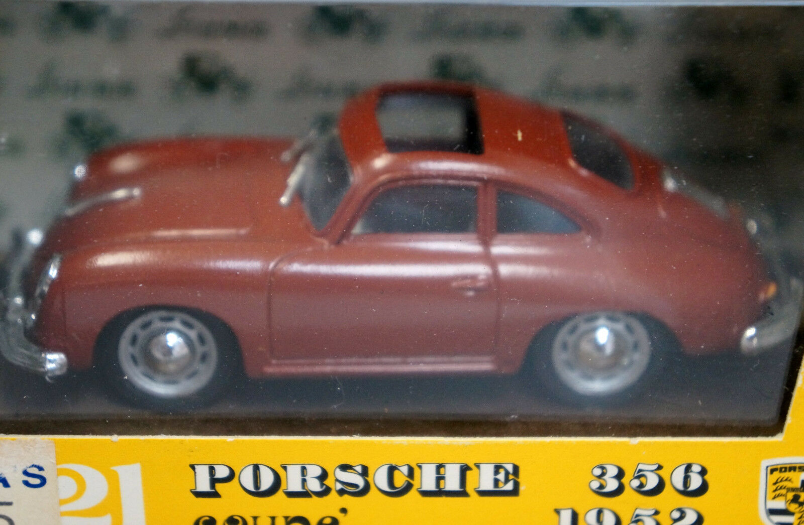PORSCHE 1952 356 BURGUNDY COUPE SUN ROOF, BRUMM 121 1 43 DIE CAST MODEL CAR NEW