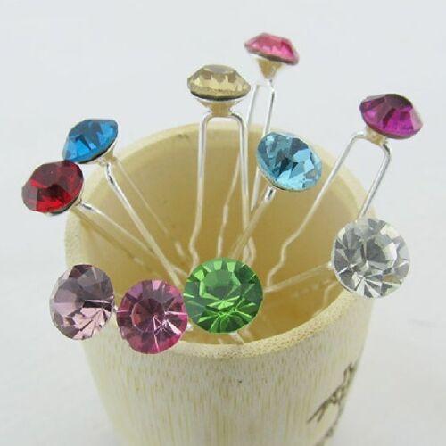 Set 10 Épingles à Cheveux Strass Communion Mariage Parure pour Crystal Broche