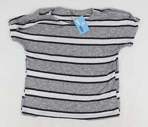 Peacocks-Grey-Striped-Womens-T-Shirt-Size-16-Regular