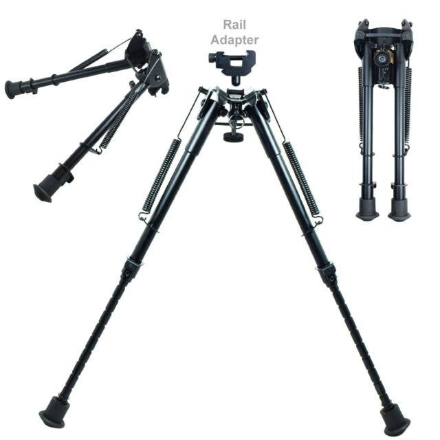"""9"""" to 13"""" Adjustable Spring Return Sniper Hunting Rifle Bipod with Rail Adapter"""
