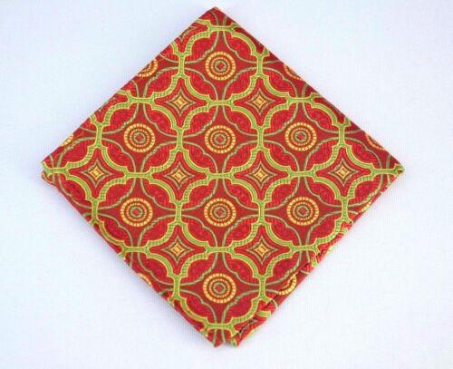 Lord R Colton Masterworks Pocket Square Isla Negra Red /& Lime Silk $75 New
