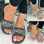 New Womens Ladies Sliders Sequin Diamante Slides Flat Summer Sandals Slippers Sz